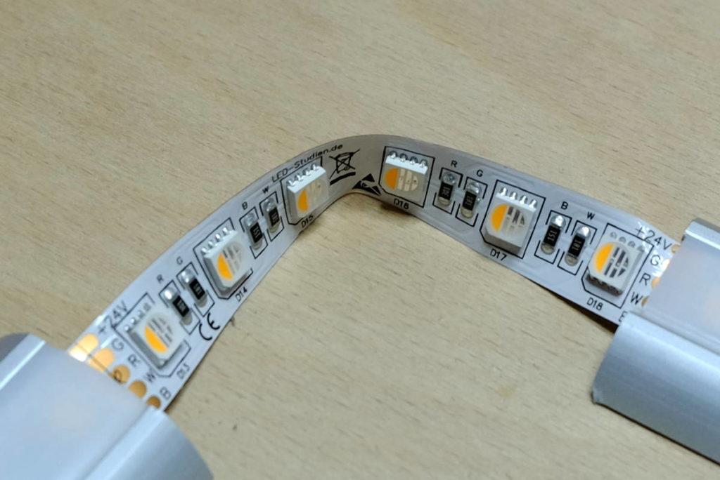 LED-Streifen knicken & biegen kann zu Defekten führen