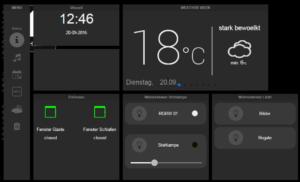 TabletUI mit Stauts-Meldungen, Schaltern und Dimmer LK35 für Stehlampe