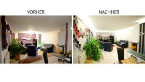 Vorher-Nachher-Beispiel eines Umbaus auf indirekte Beleuchtung im Wohnzimmer