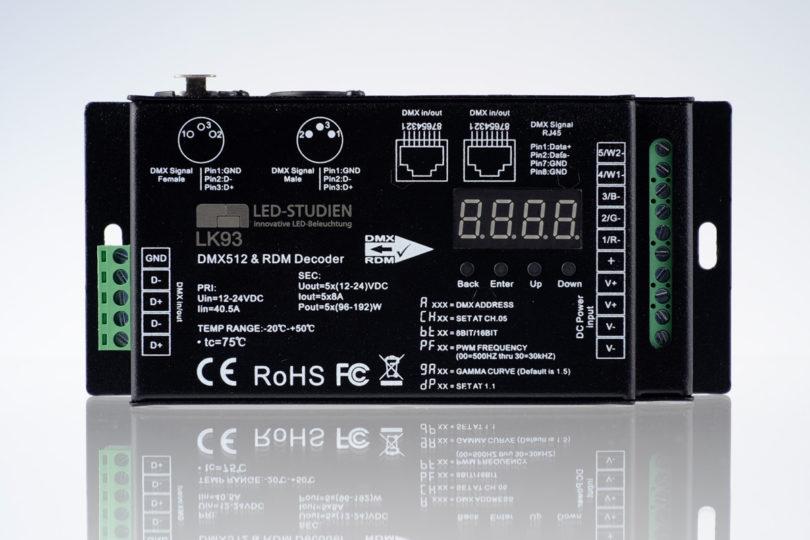 DMX LED Controller mit 30kHz und 5x8a