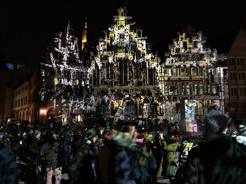 Pixelmapping Frankfurt Römer bei der Luminale 2018