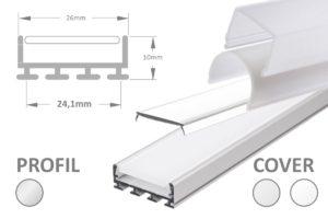 Breite LED-Leiste für 2 LED-Streifen