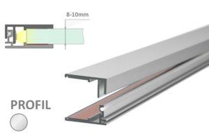 Alu Schiene für LED Beleuchtung einer Glaskante