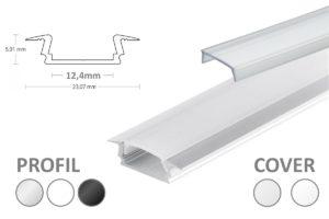 LED Schiene mit Kragen, Einsatz-Profil für eine Nut