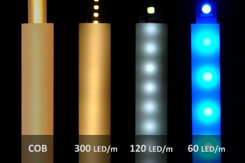 Vergleich von verschiedenen LED-Streifen in einem flachen 6mm Aluprofil